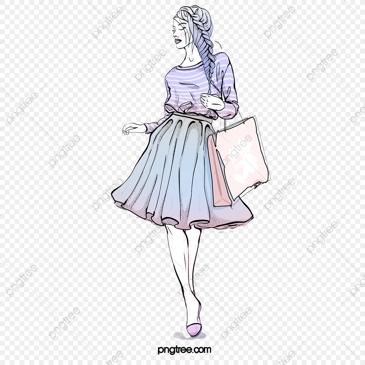Fashion Fashion Hand Drawn Shopping Girl Elements Latest Fashion Fashion Watercolor Png Transparent Clipart Image And Psd File For Free Download