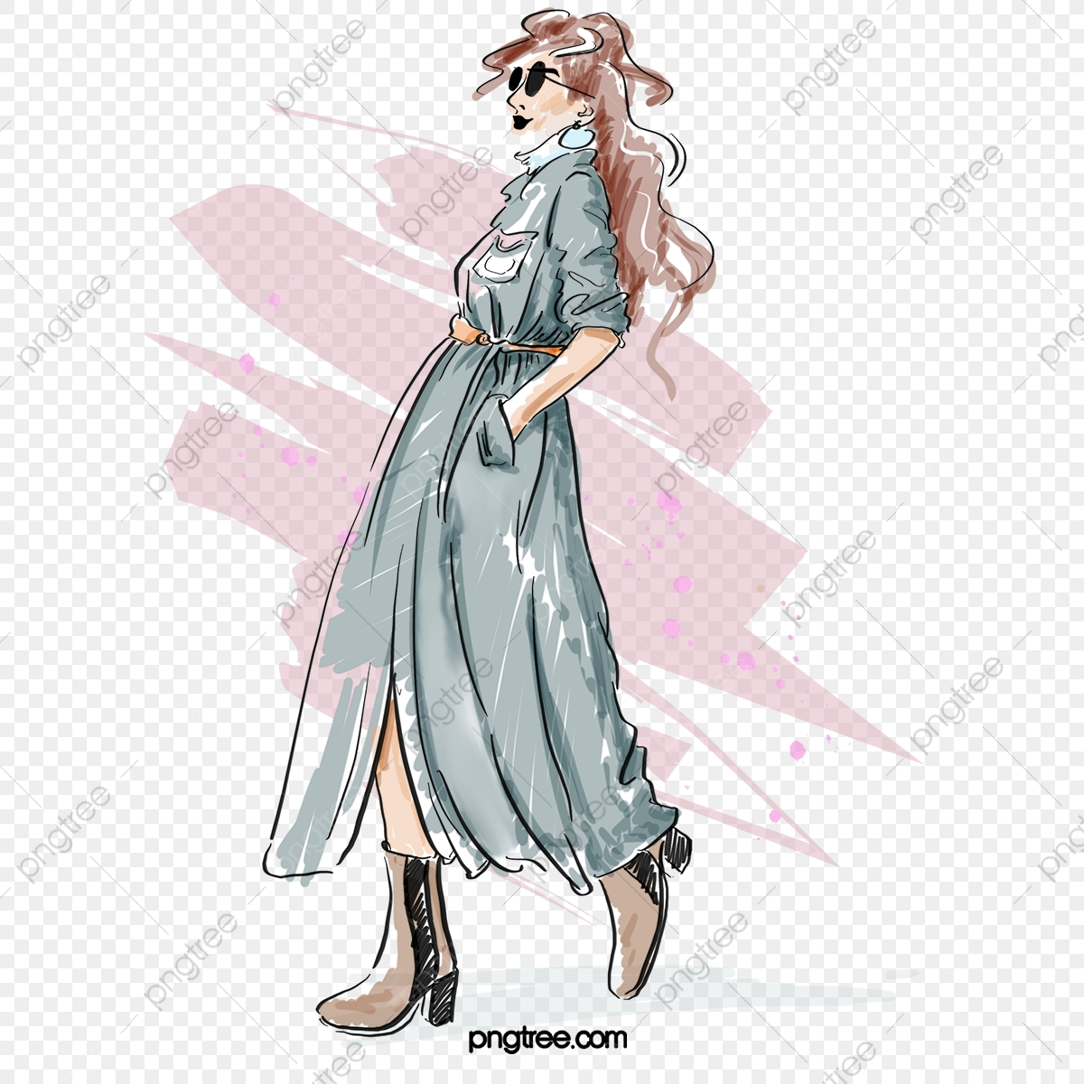 Fashion Gray Trench Coat Sunglasses High Heels Hand Painted Mannequin Elements Fashion Clothes Illustration Png Transparent Clipart Image And Psd File For Free Download