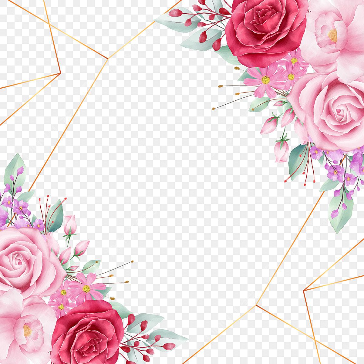 Decoración Floral Del Borde Con Línea Geométrica Y Rosas