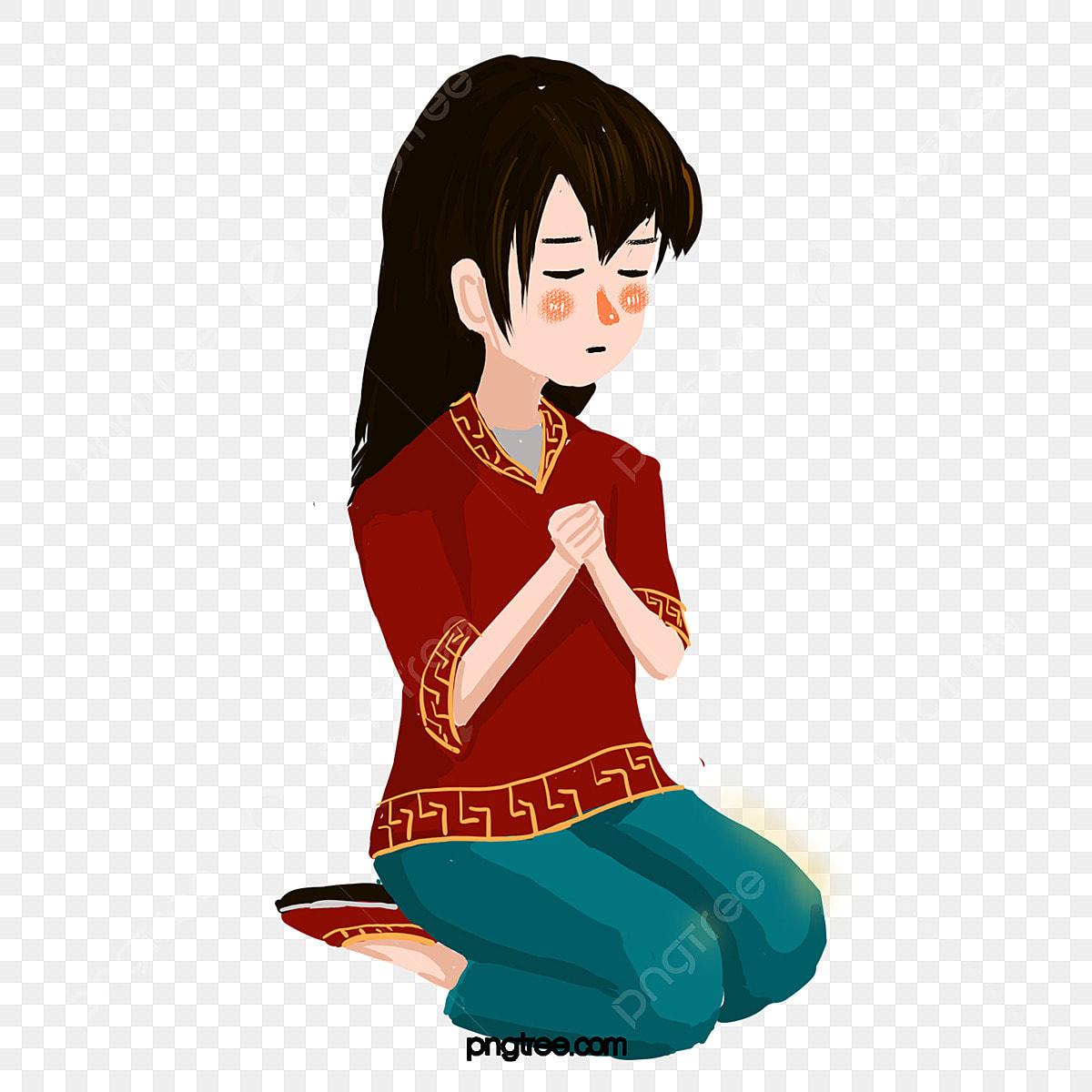 Gadis Duduk Di Tangannya Dan Berdoa Untuk Kehendaknya Gadis
