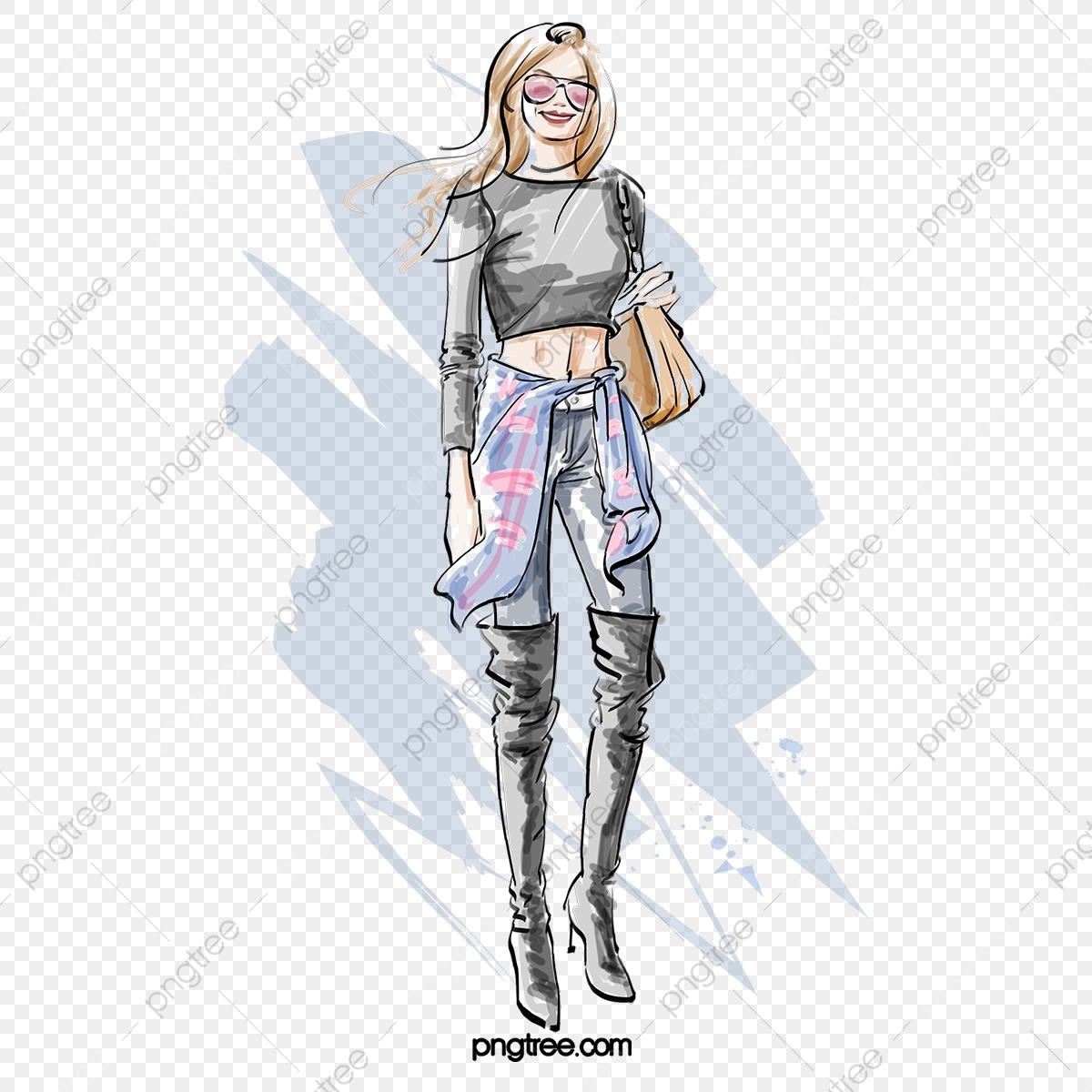 Gray Fashion Fashion Girl Hand Drawn Elements Fashion Latest Fashion Girl Png Transparent Clipart Image And Psd File For Free Download