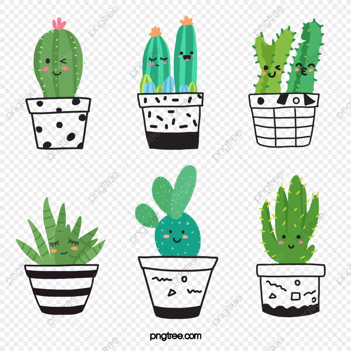 Green Cartoon Hand Drawn Style Cute Indoor Cactus Plant Element Prickly Pear Potted Plant Succulents Png Transparent Clipart Image And Psd File For Free Download