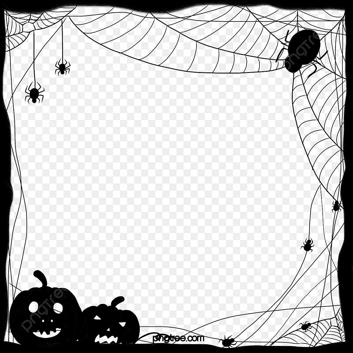 Halloween Black Pumpkin Spider Border, Halloween, Black, Terror ...
