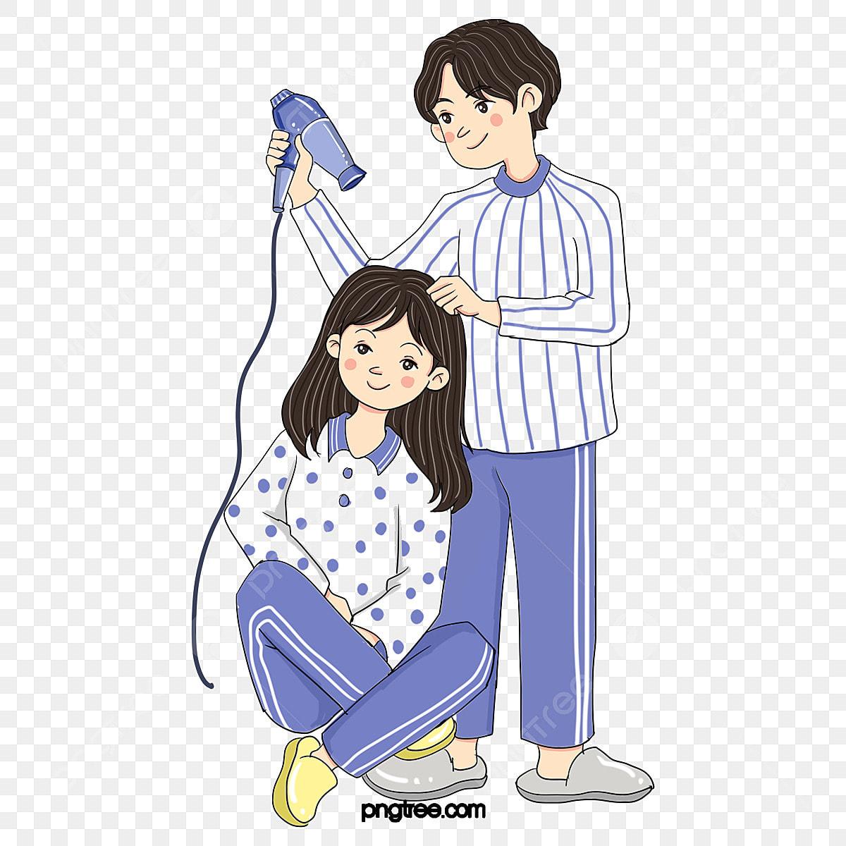 Home Pareja Pijama Secador De Pelo Muebles Para El Hogar Parejas Pijama  PNG y PSD para Descargar Gratis  Pngtree