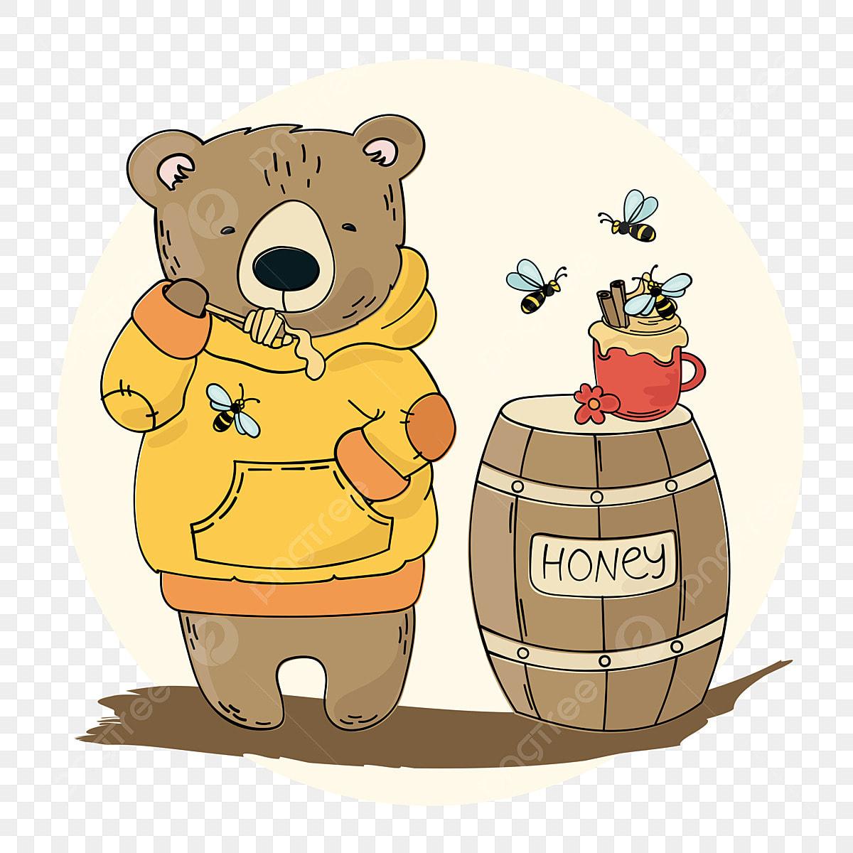 Madu Beruang Kartun Pencuci Mulut Hewan Hutan Vektor
