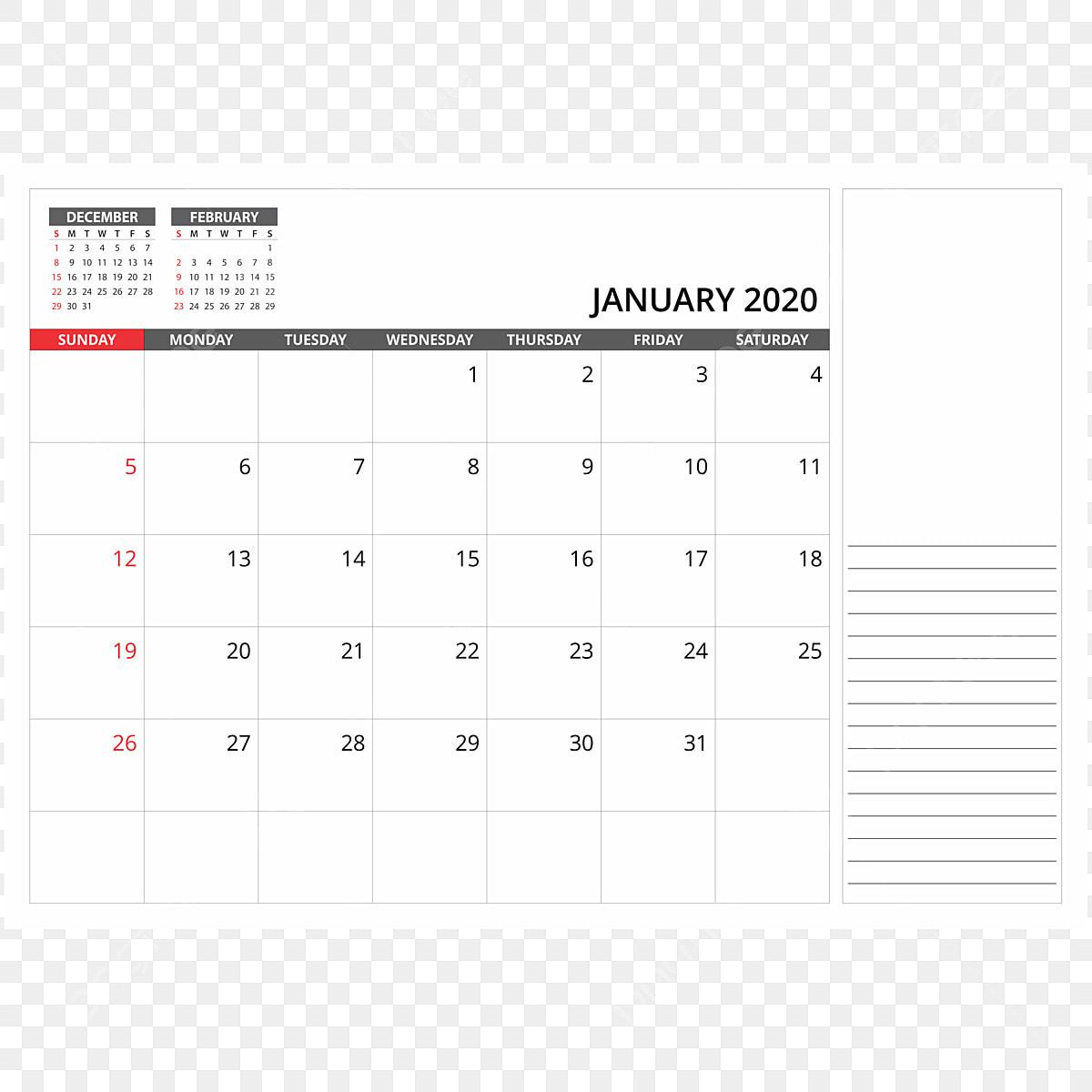 2020年1月の卓上カレンダー 2020年 カレンダー Png画像素材の