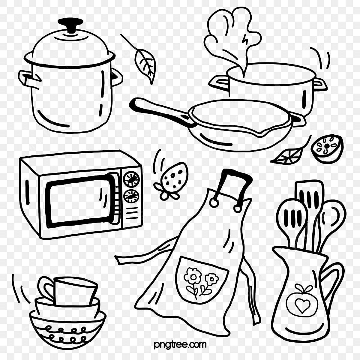Delantal De Utensilios De Cocina Dibujo Lineal Negro Dibujado A