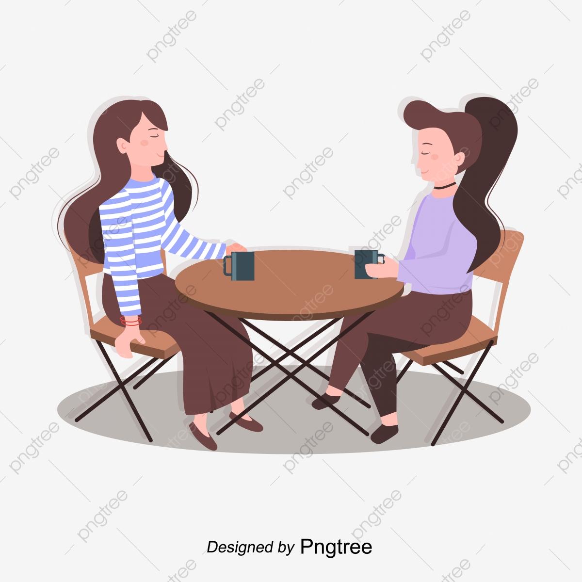 Long Hair Female Friend Restaurant Table And Chair Long