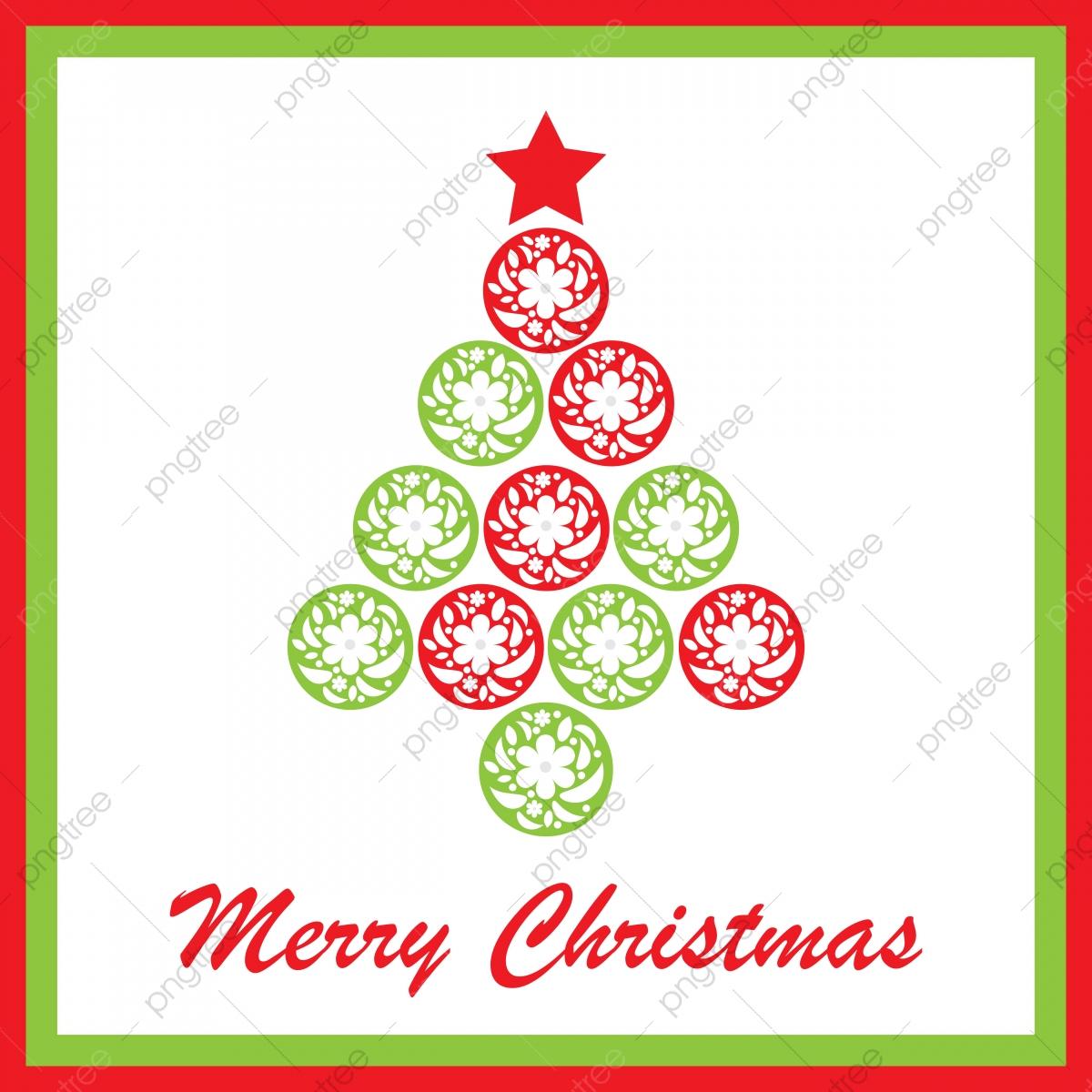 Merry Christmas Text Dan Xmas Tree Dari Shape Flower Circle