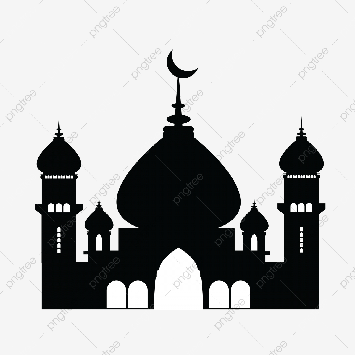 Mosque Clipart Png Vector, Masajed, Moon Eid, Muslim