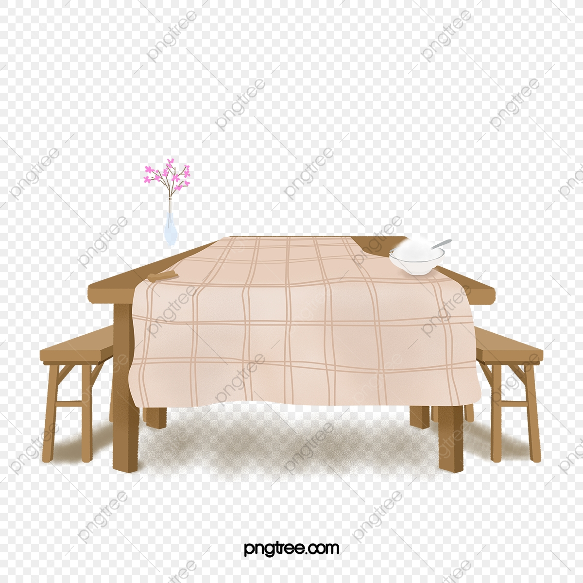Restaurant Brown Wooden Table And Chairs Tablecloth
