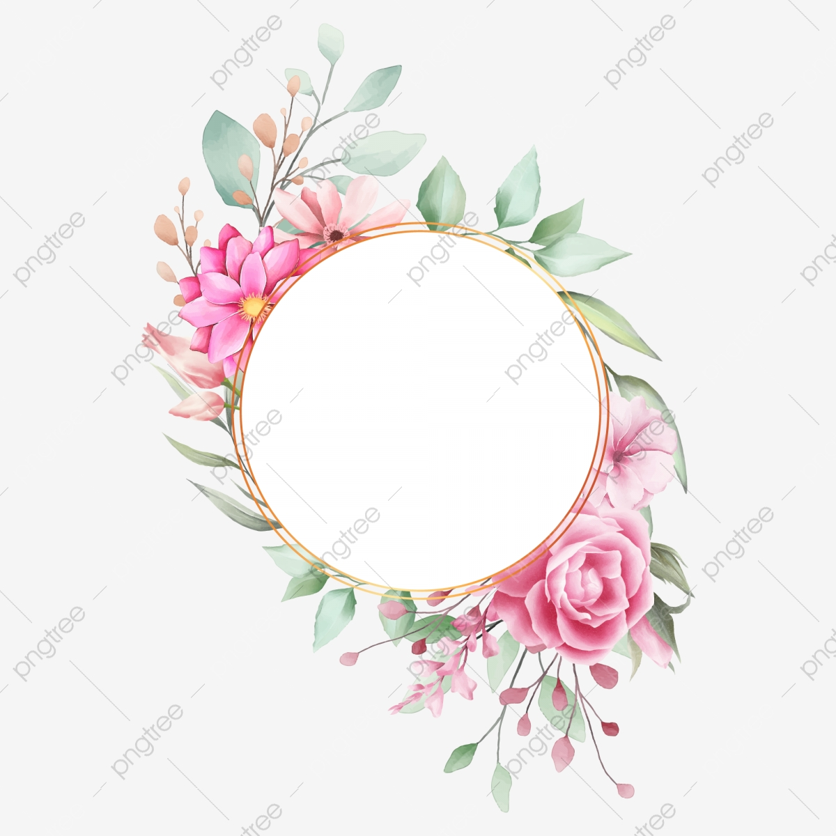 Romantic Circle Wedding Frame With Watercolor Flowers, Card ...