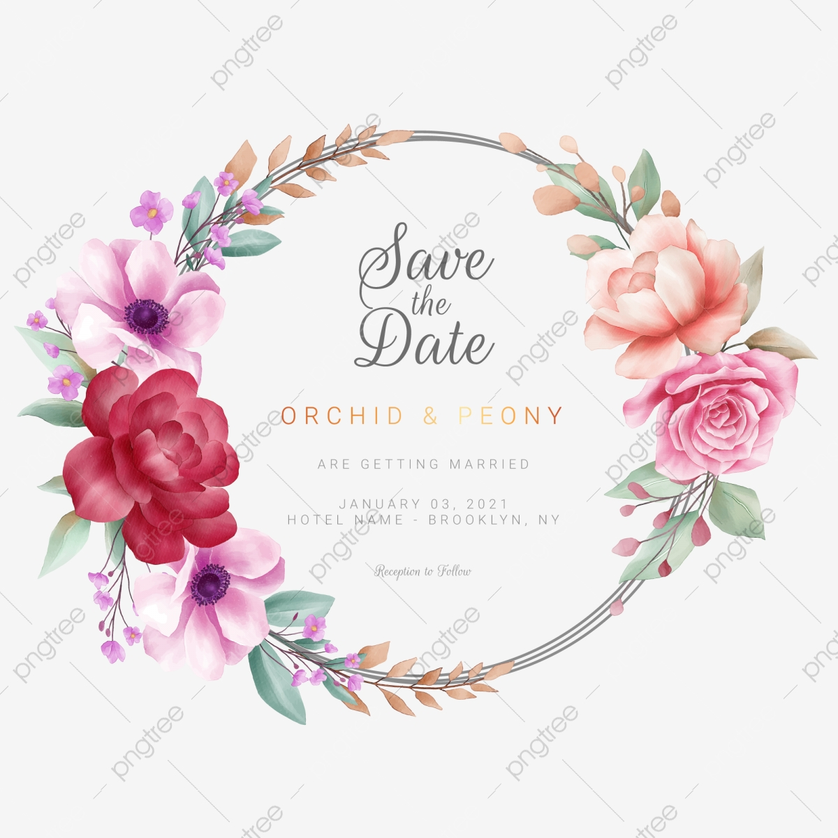 Romantic Watercolor Floral Wreath For Wedding Or Greeting