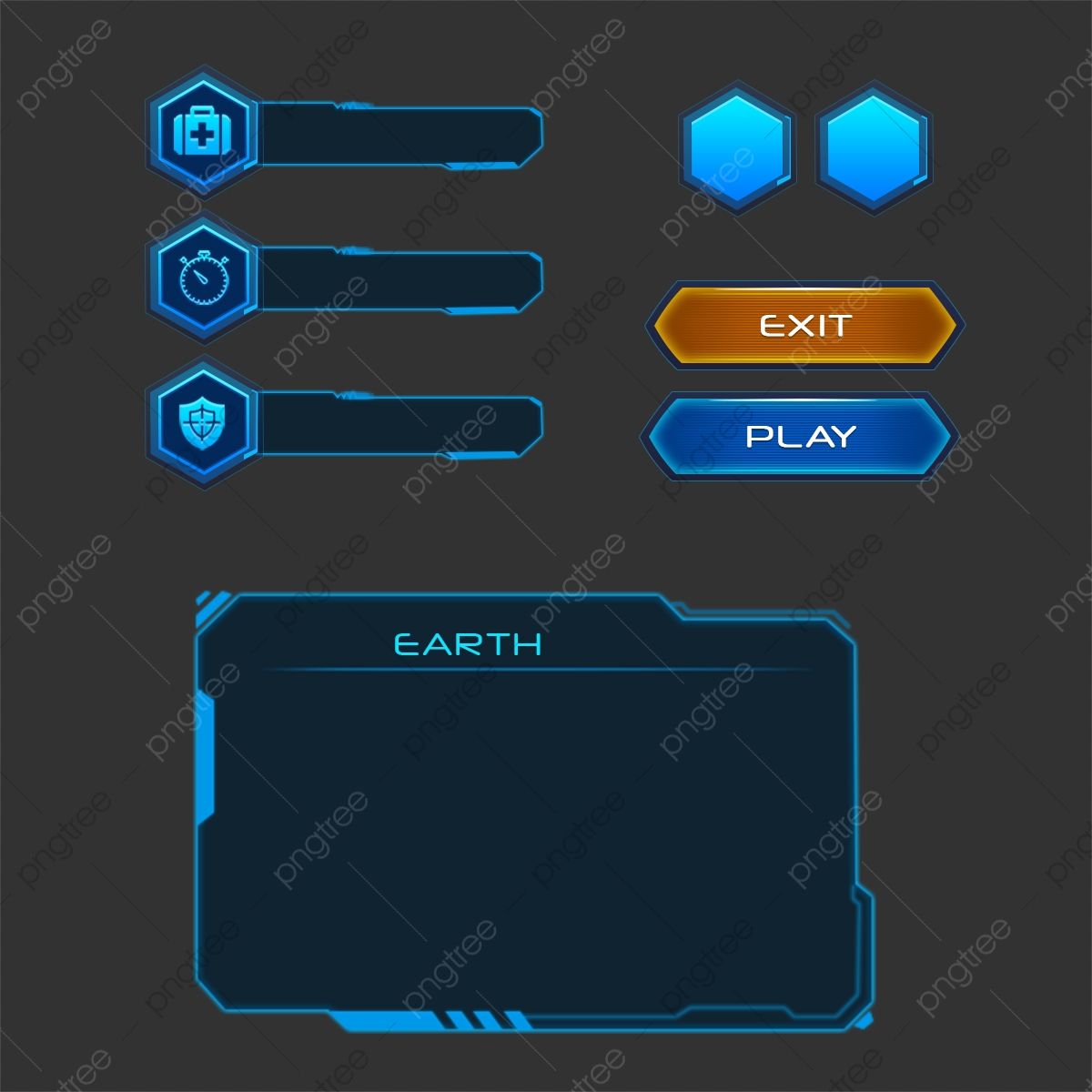 ui png images vector and psd files free download on pngtree https pngtree com freepng set of buttons with good organized layers ui elements buttons panel in blue sci fi style 4992630 html