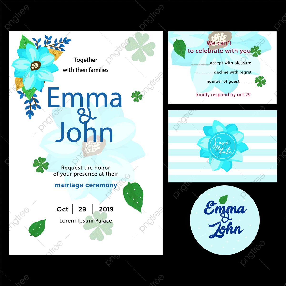 Carte D Invitation De Mariage Avec Fleurs Bleues Anniversaire Le Dessin Moderne Fichier Png Et Psd Pour Le Telechargement Libre