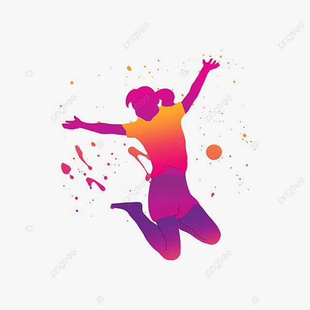 beautiful colored dancing portrait silhouette