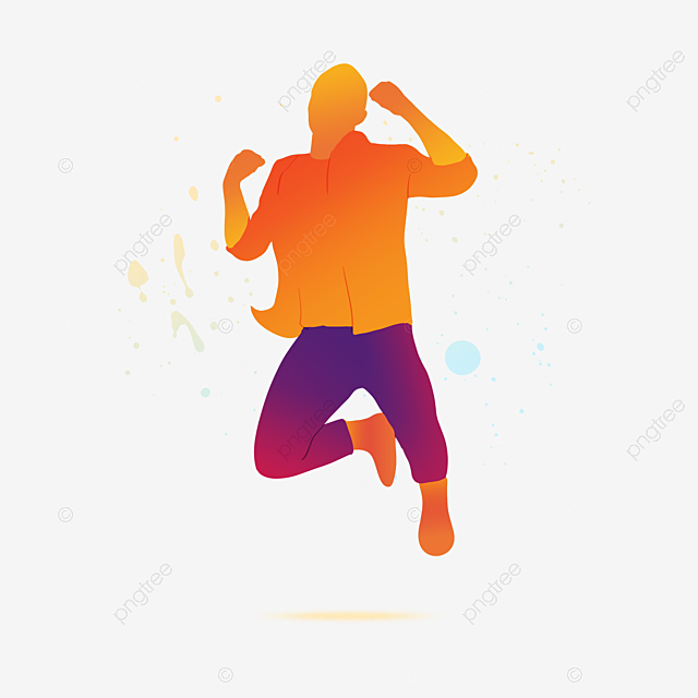 colorful dancing portrait silhouette