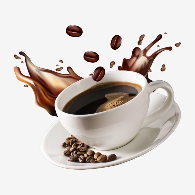 secangkir kopi terbang dengan latar belakang percikan dan biji kopi png kopi cangkir guyuran png transparan gambar clipart dan file psd untuk unduh gratis secangkir kopi terbang dengan latar