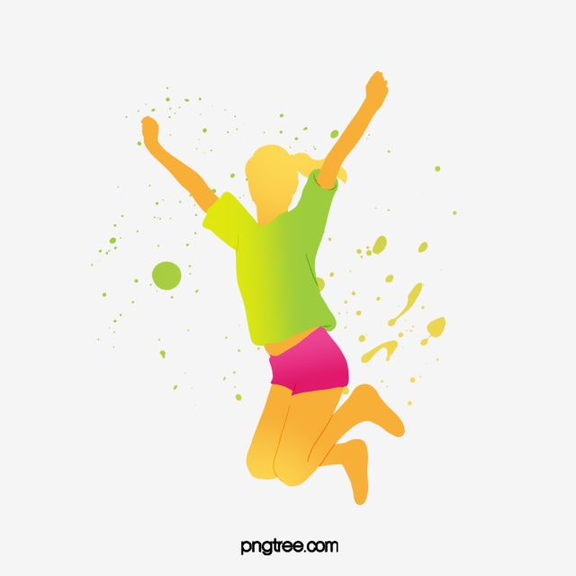jumping cheerful color dancing portrait silhouette