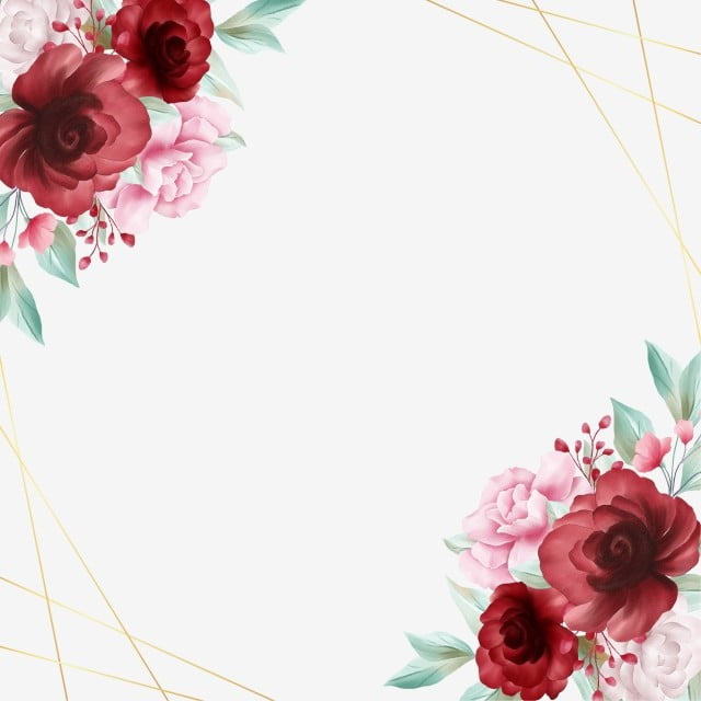 Romantic Watercolor Floral Border With Golden Line