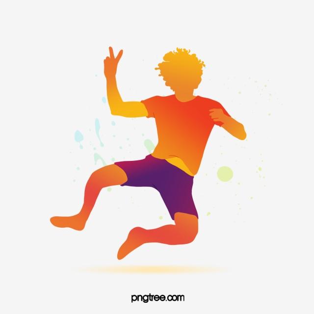 vibrant gradient colored dancing portrait silhouette