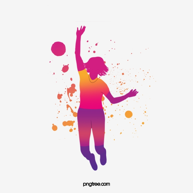 watercolor color dance character silhouette