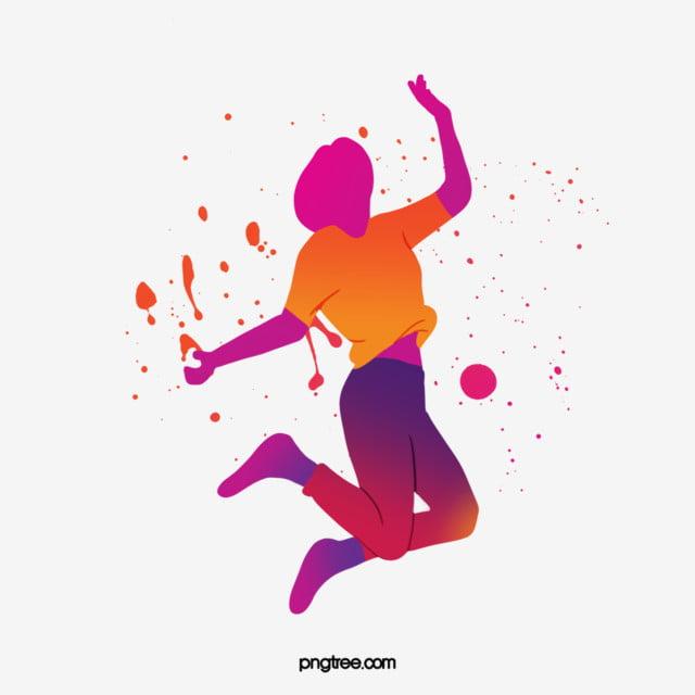 watercolor splatters colored dancing portrait silhouette