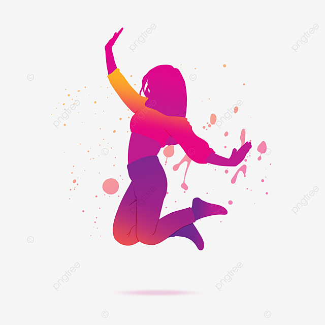 youthful dancing girl watercolor silhouette