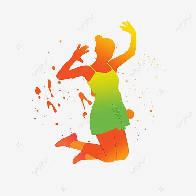 youthful vibrant colored dancing portrait silhouette