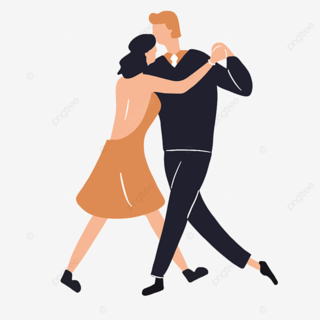 Cartoon Hand Drawn Ballroom Dancing Men And Women Illustration Pink Brown Dance Png Transparent Clipart Image And Psd File For Free Download