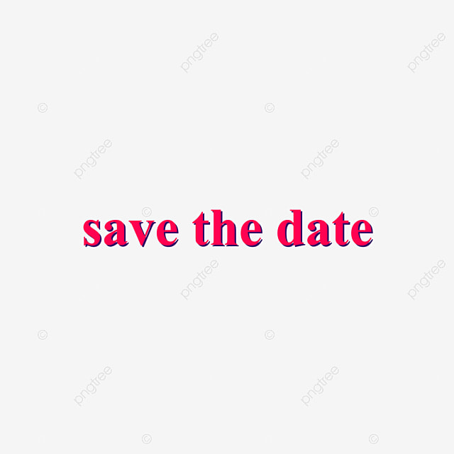 Pink Save The Date Lettering Flat Design Stereoscopic