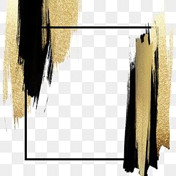 черное золото кисть декоративный бордюр, Фото, экстравагантное золото, просто PNG и PSD