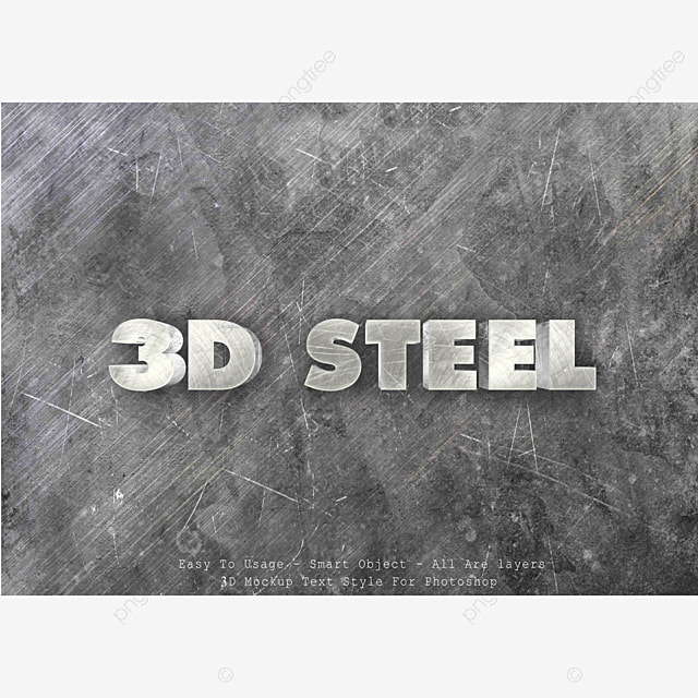3d Game Logo Style Text Effect Template:  3d Steel Text Style Effect Text Effect PSD For Free Download