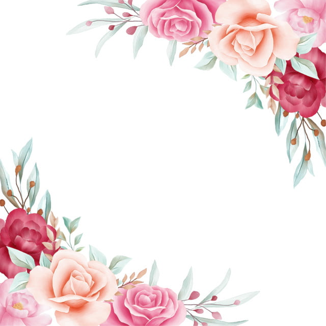 floral frame for wedding or greeting card composition