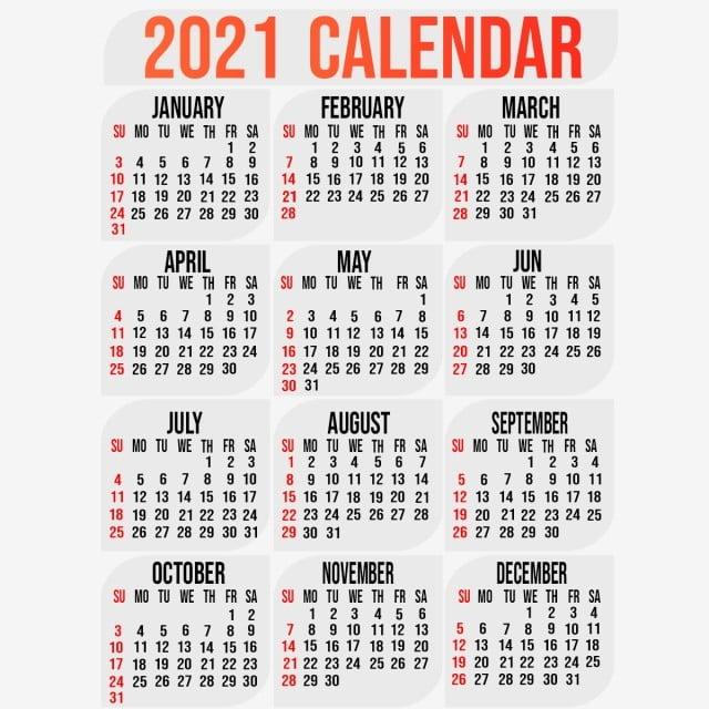 Modello Di Calendario 2021 Con Disegno Di Sfondo, 2021, Calendario