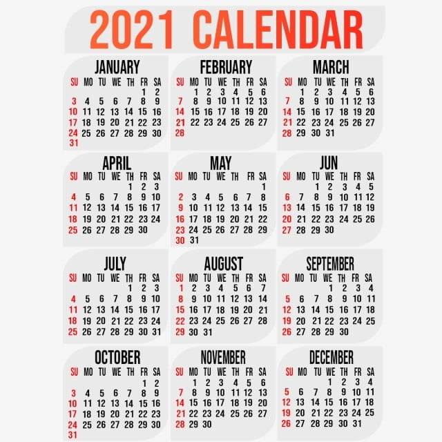 2021 Calendar Template With Background Design, 2021, Calendar