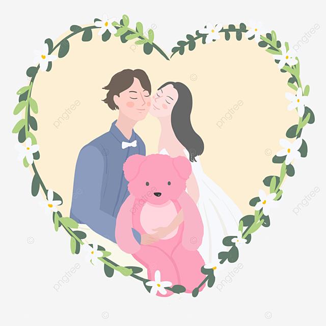 Gambar Warna Korea Yang Dilukis Dengan Tangan Gaya Segar Kecil Unsur Cinta Pasangan Bahagia Pakaian Perkahwinan Putih Beruang Merah Jambu Kahwin Png Dan Psd Untuk Muat Turun Percuma