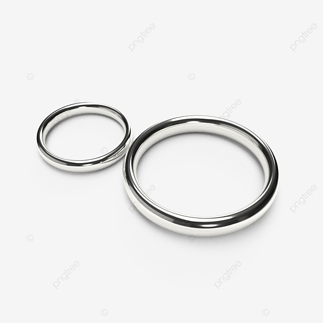 Luxury Silver Wedding Rings Isolated On Transparent