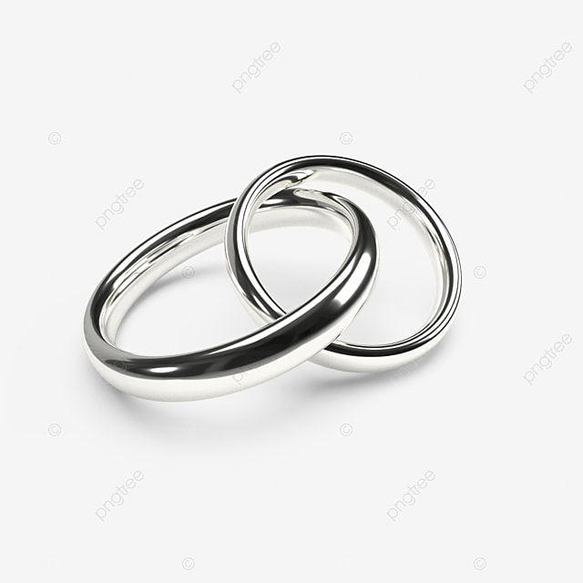 Shiny Silver Wedding Rings On A Transparent Background 3d