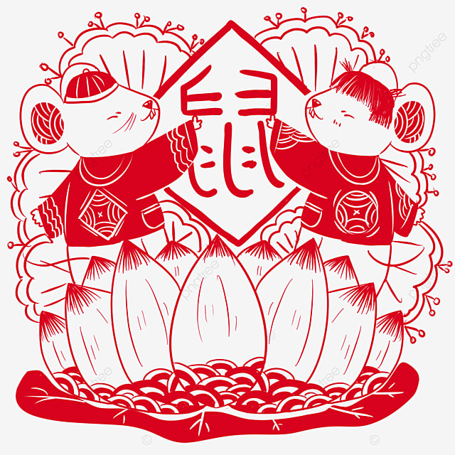year of the rat paper cutting style red mouse and lotus