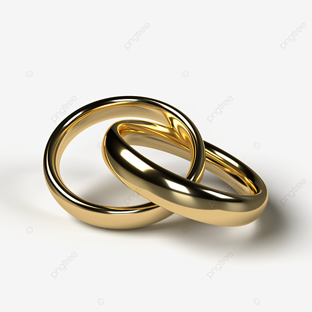 A Pair Of Beautiful Golden Wedding Rings On A Transparent