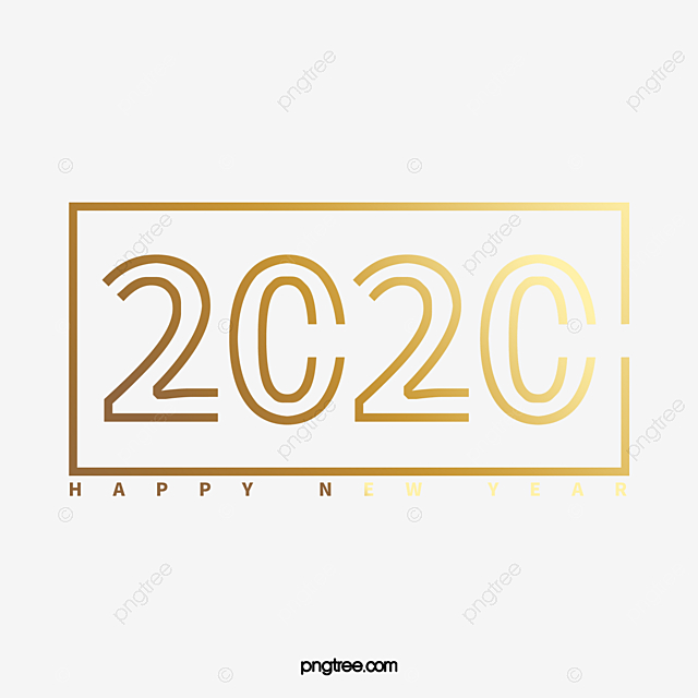 Gold Line Art Creative 2020 New Year Font Golden Happy New