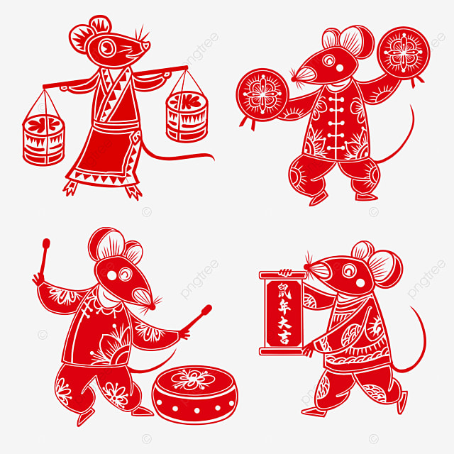 red paper cut style elements four happy mice