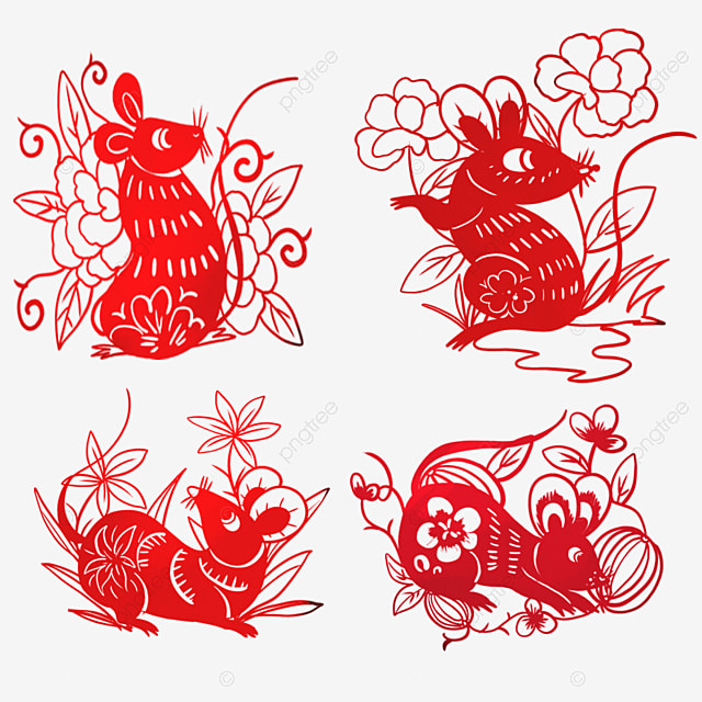 red paper cut style elements mouse and