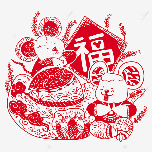 spring festival paper cutting style element mouse paste spring festival couplets