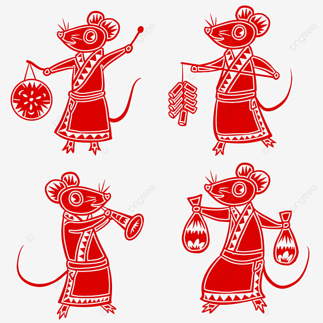 spring festival paper cutting style elements four happy mice