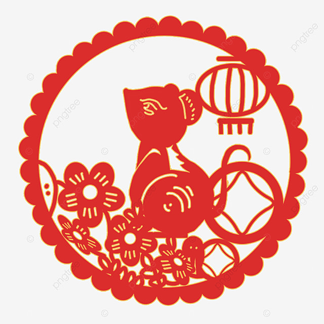 the year of the rat lantern mouse paper cutting style element