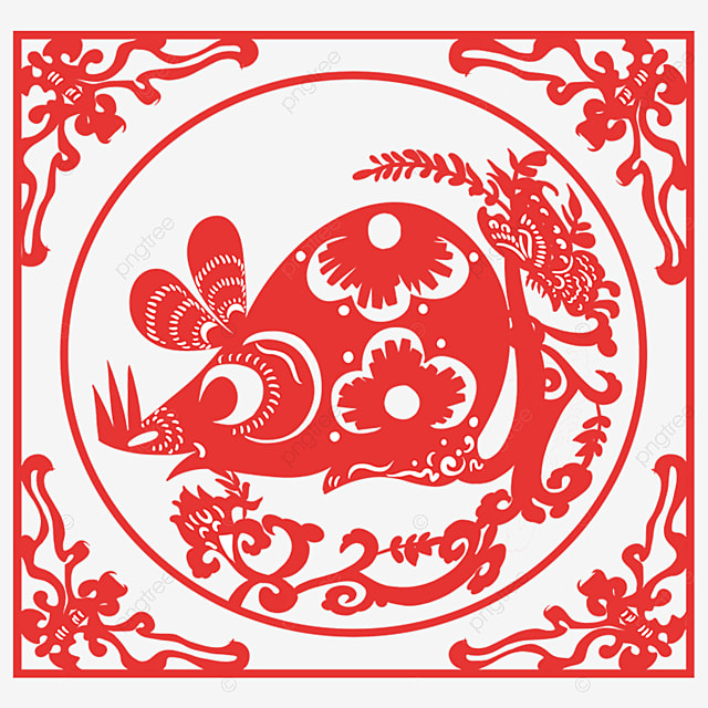 the year of the rat the style of paper cutting the mouse beside the big tree