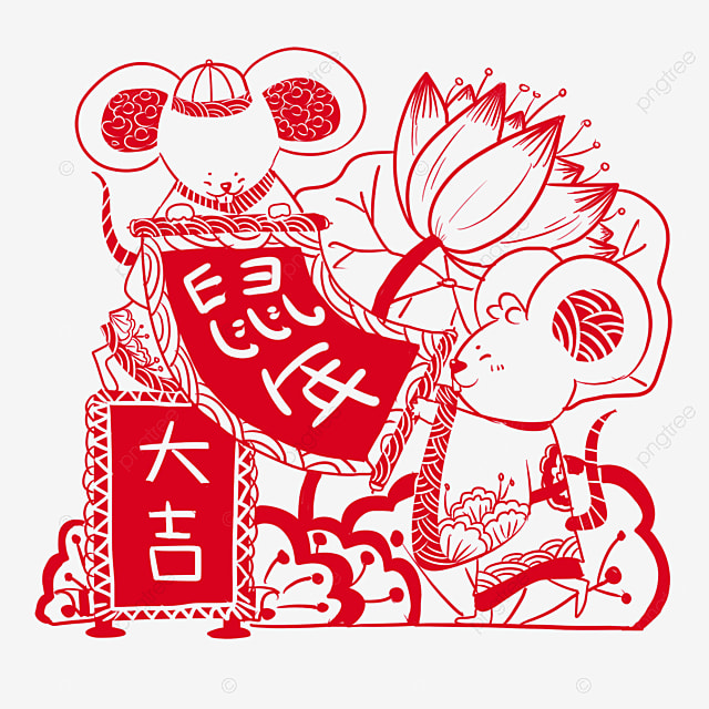 the year of the rat the style of paper cutting the mouse holding the festival couplet