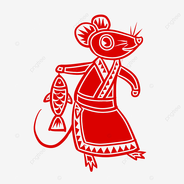 year of the rat paper cutting style element mouse holding fish